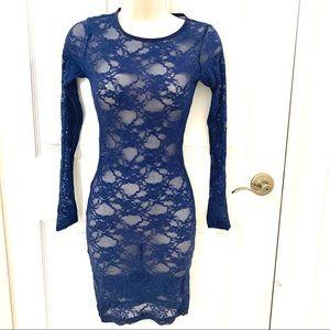 Navy Blue Lace Long Sleeve Mini Dress
